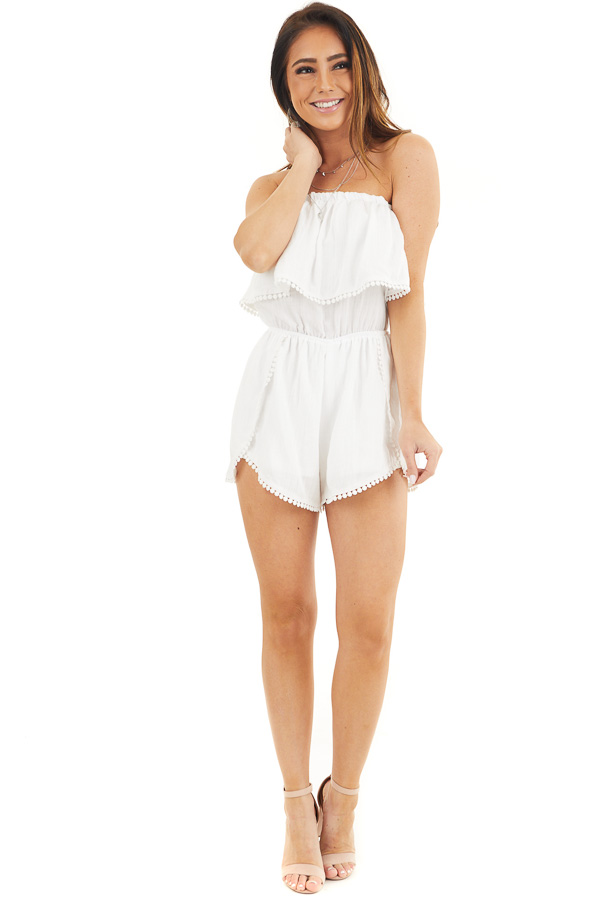 White Strapless Woven Romper with Circle Lace Trim front full body