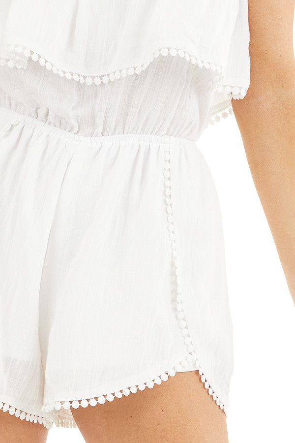 White Strapless Woven Romper with Circle Lace Trim detail