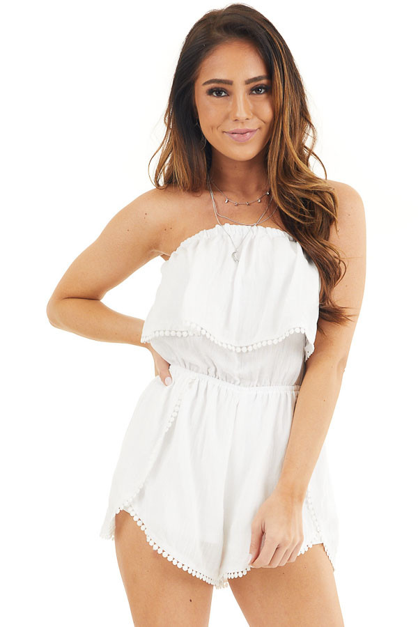 White Strapless Woven Romper with Circle Lace Trim front close up