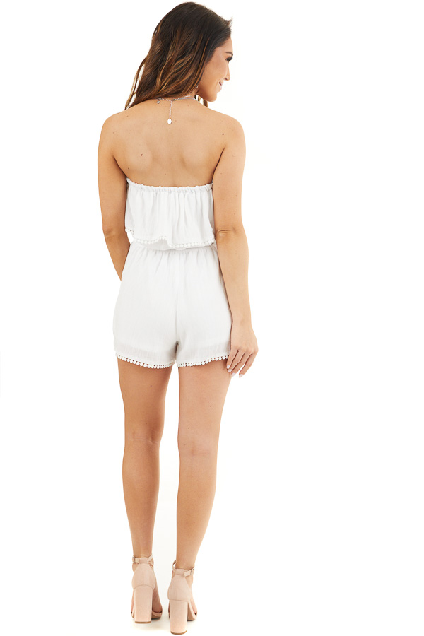 White Strapless Woven Romper with Circle Lace Trim back full body