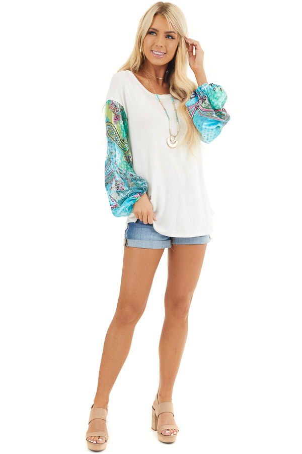 White Waffle Knit Top with Multicolor Paisley Print Sleeves front full body