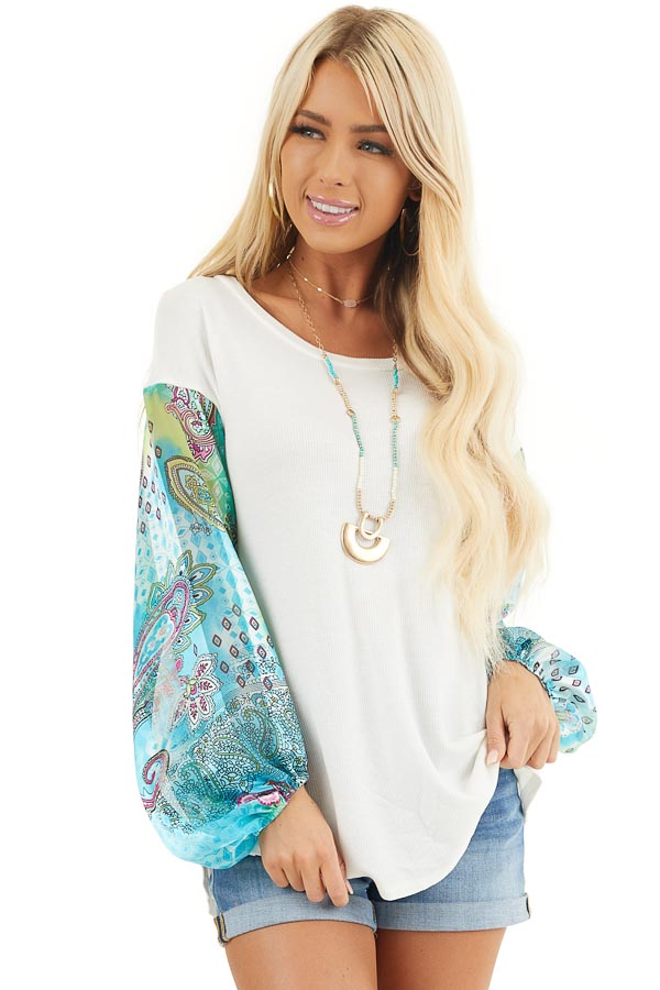 White Waffle Knit Top with Multicolor Paisley Print Sleeves front close up
