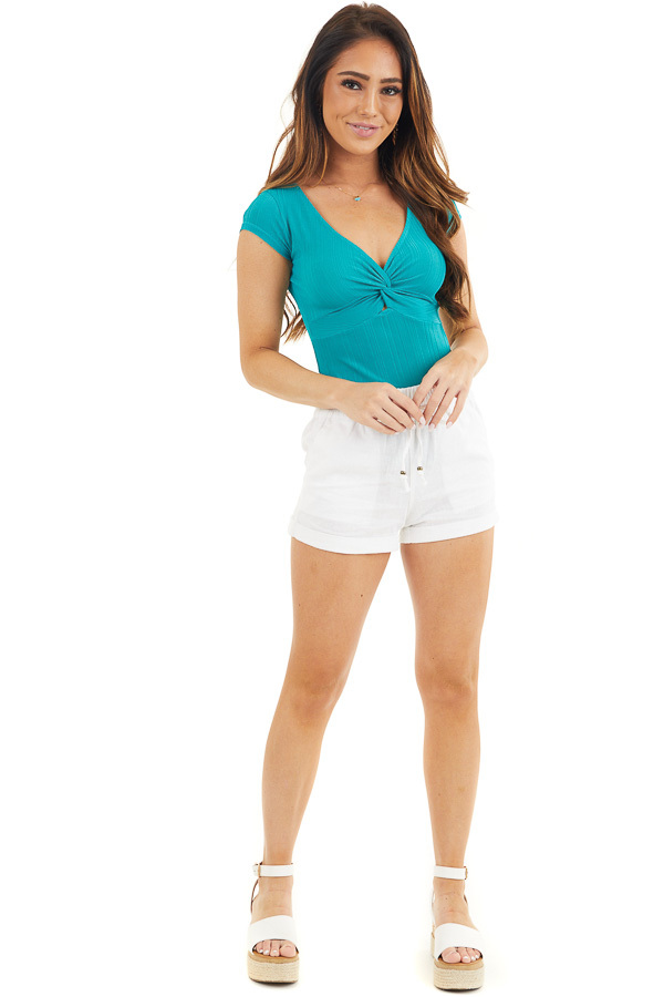 Dark Teal Ribbed Knit V Neck Bodysuit with Front Twist front full body