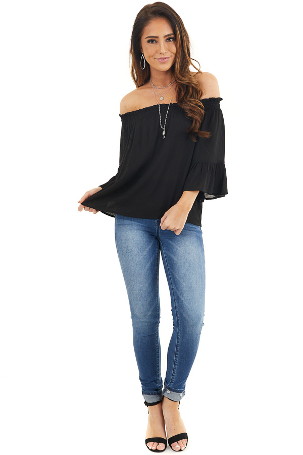 Black Off the Shoulder Top with 3/4 Length Sleeves front full body