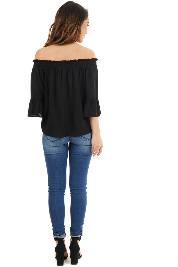 Black Off the Shoulder Top with 3/4 Length Sleeves back full body
