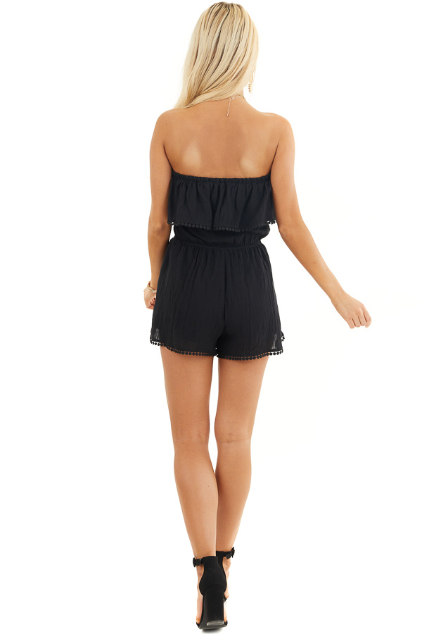 Black Strapless Woven Romper with Circle Lace Trim back full body