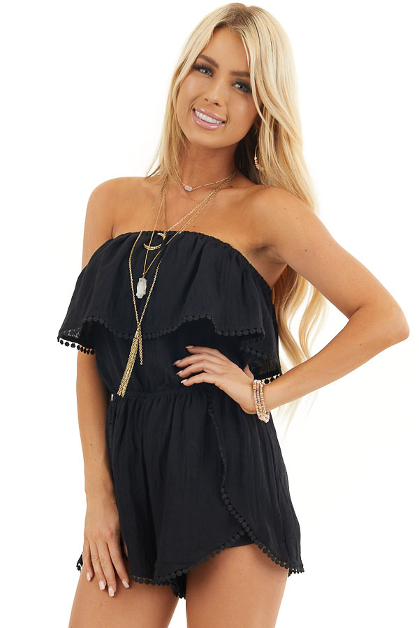 Black Strapless Woven Romper with Circle Lace Trim front close up