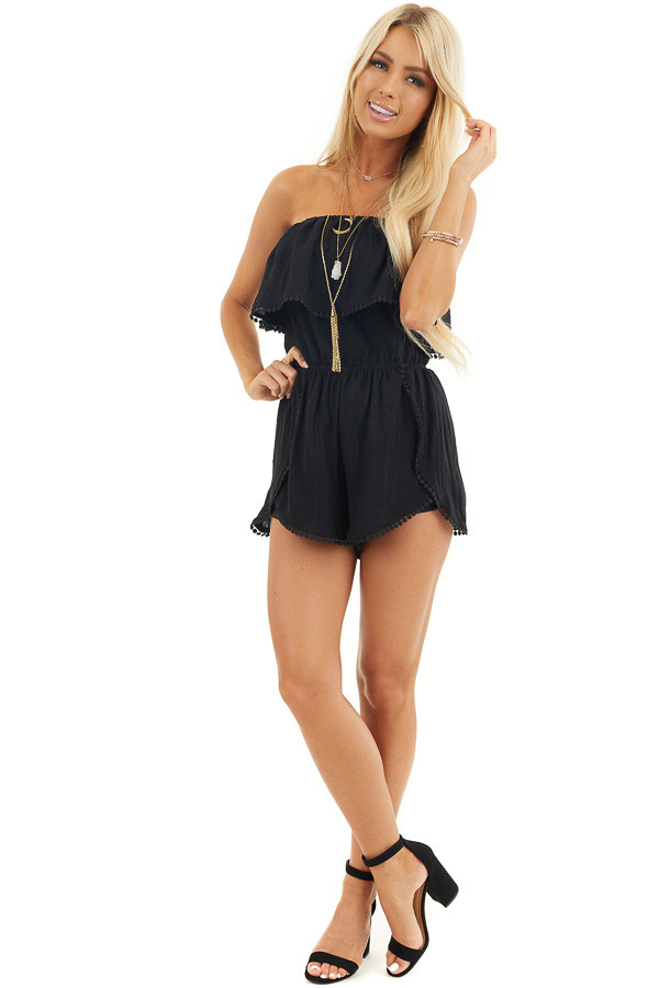 Black Strapless Woven Romper with Circle Lace Trim front full body