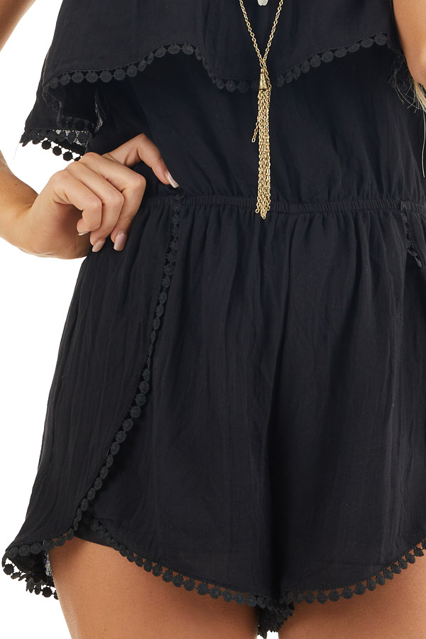 Black Strapless Woven Romper with Circle Lace Trim detail