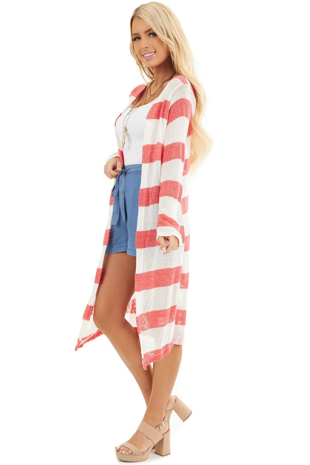 Red and Ivory Striped Lightweight Long Sleeve Cardigan side full body