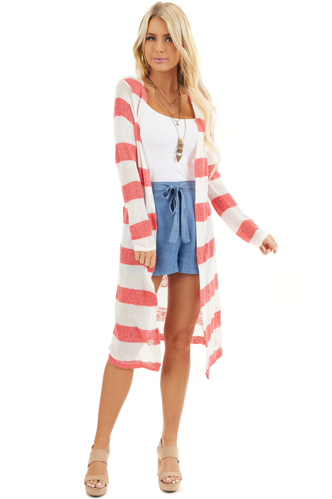 Red and Ivory Striped Lightweight Long Sleeve Cardigan front full body