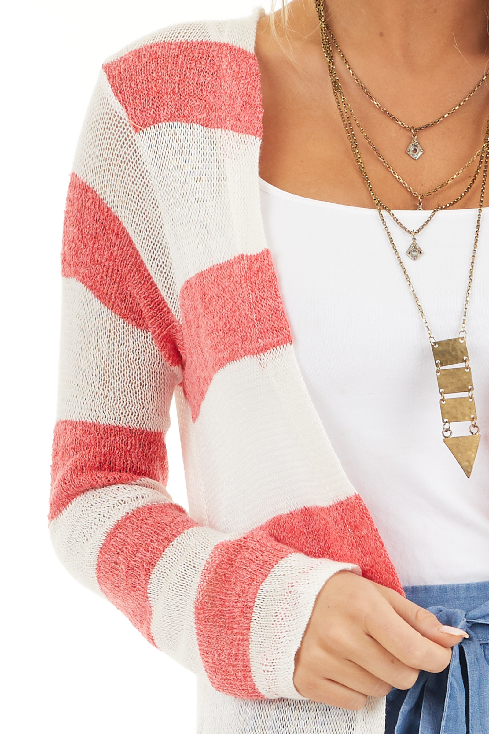 Red and Ivory Striped Lightweight Long Sleeve Cardigan detail