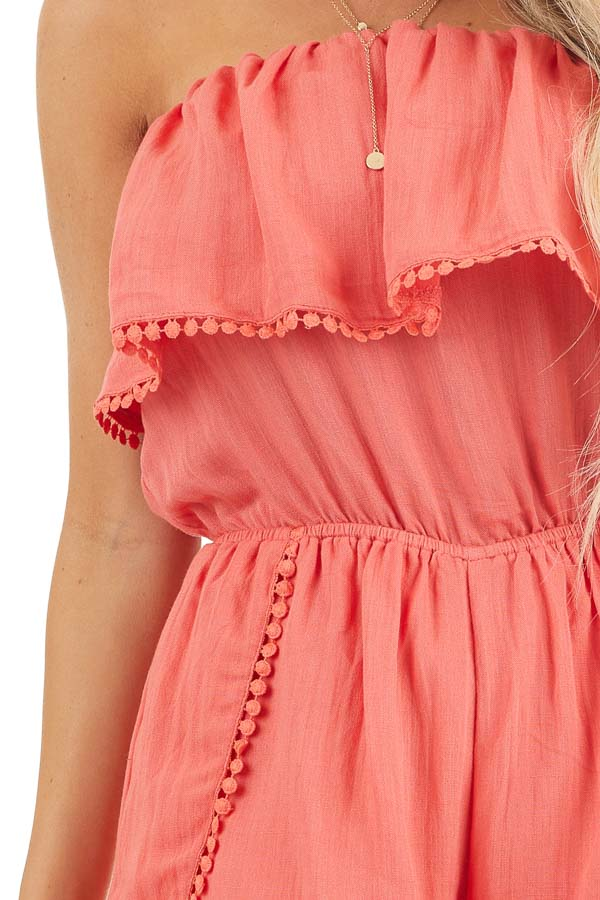 Bright Pink Strapless Woven Romper with Circle Lace Trim detail