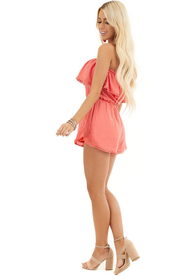 Bright Pink Strapless Woven Romper with Circle Lace Trim side full body