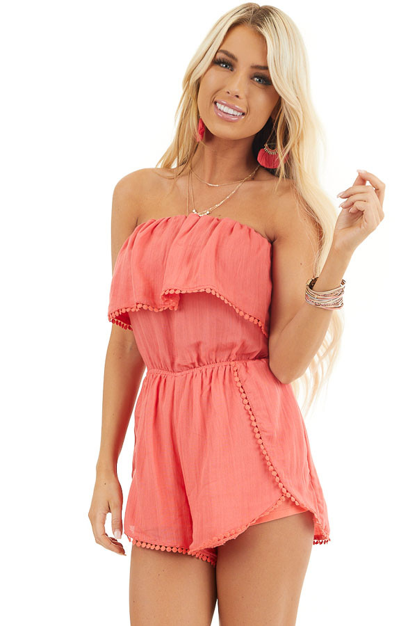 Bright Pink Strapless Woven Romper with Circle Lace Trim front close up