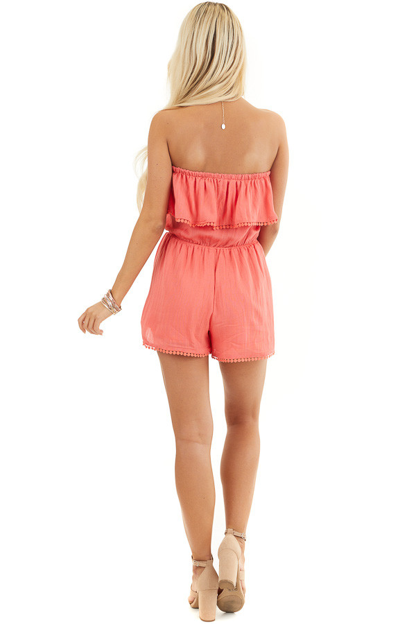 Bright Pink Strapless Woven Romper with Circle Lace Trim back full body