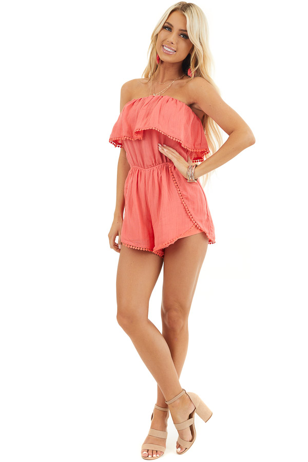 Bright Pink Strapless Woven Romper with Circle Lace Trim front full body