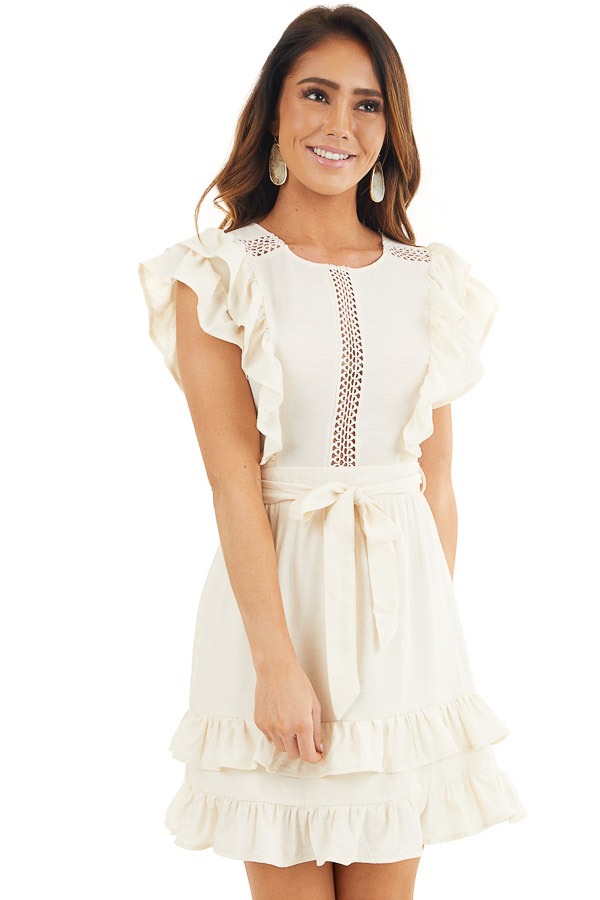 Cream Short Sleeve Short Dress with Ruffle and Tie Detail front close up