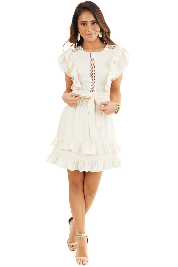 Cream Short Sleeve Short Dress with Ruffle and Tie Detail front full body