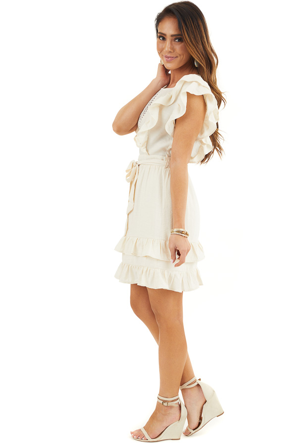 Cream Short Sleeve Short Dress with Ruffle and Tie Detail side full body