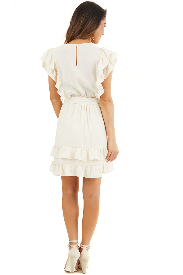 Cream Short Sleeve Short Dress with Ruffle and Tie Detail back full body
