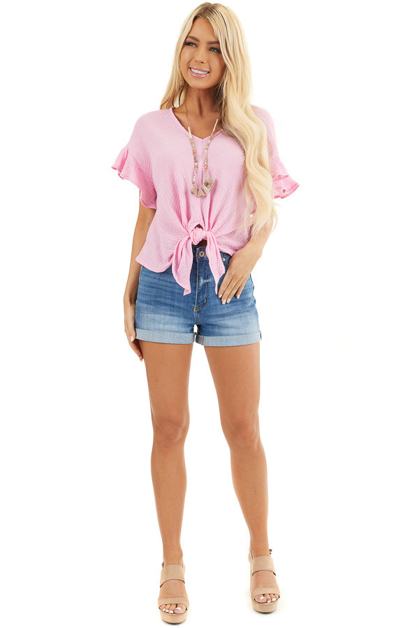 Bubblegum Pink V Neck Blouse with Ruffle Sleeves and Tie front full body