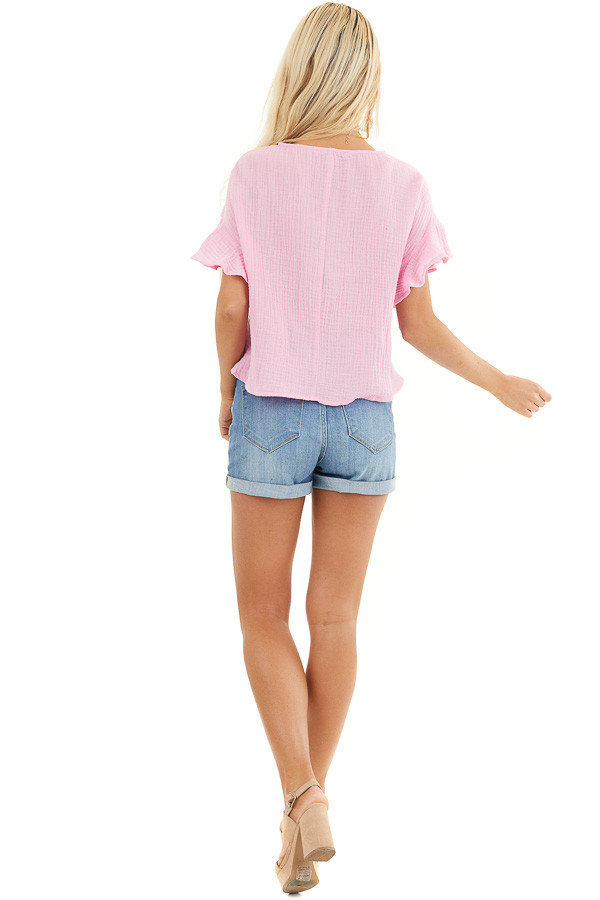 Bubblegum Pink V Neck Blouse with Ruffle Sleeves and Tie back full body