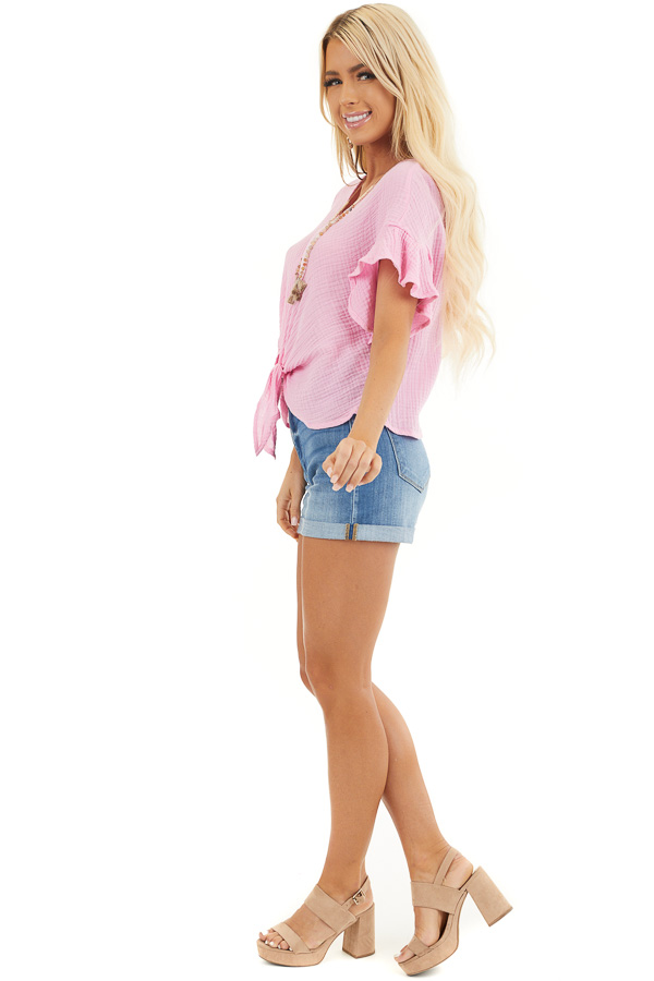 Bubblegum Pink V Neck Blouse with Ruffle Sleeves and Tie side full body