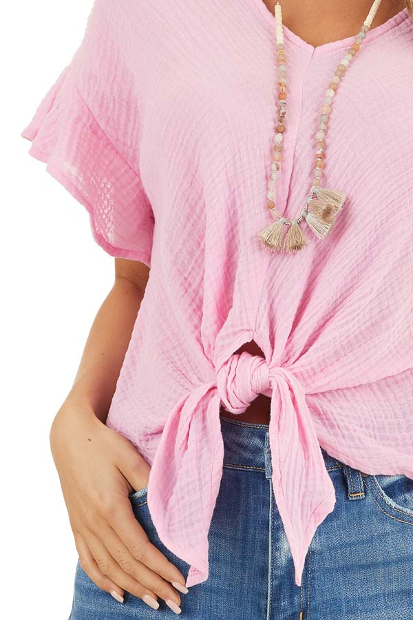 Bubblegum Pink V Neck Blouse with Ruffle Sleeves and Tie detail
