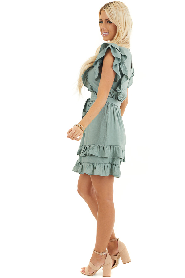 Sage Short Sleeve Short Dress with Ruffle and Tie Detail side full body