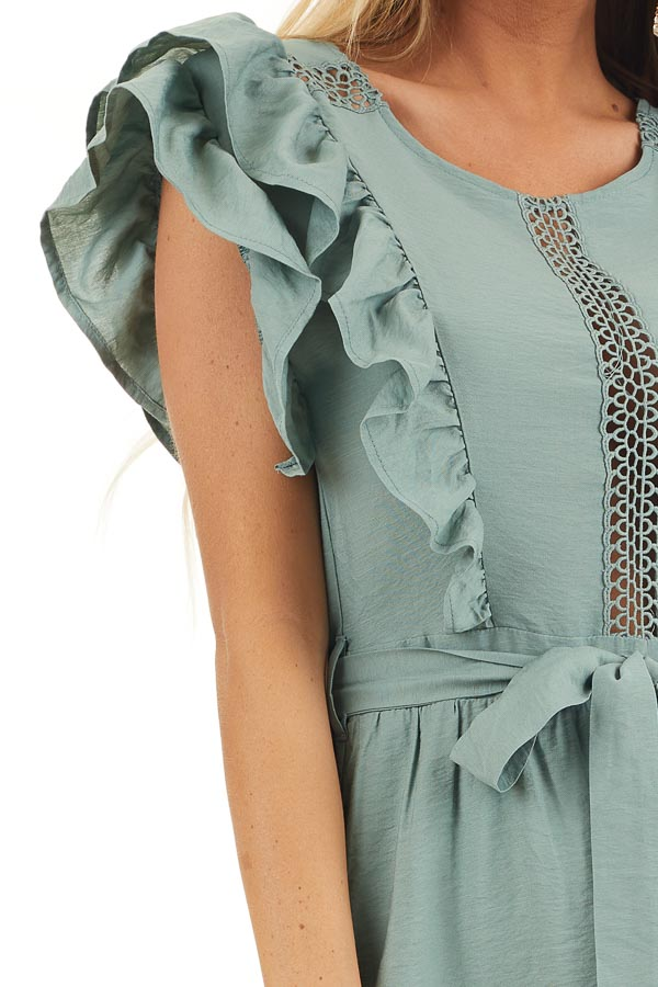 Sage Short Sleeve Short Dress with Ruffle and Tie Detail detail