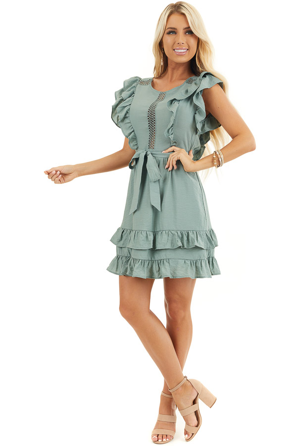 Sage Short Sleeve Short Dress with Ruffle and Tie Detail front full body