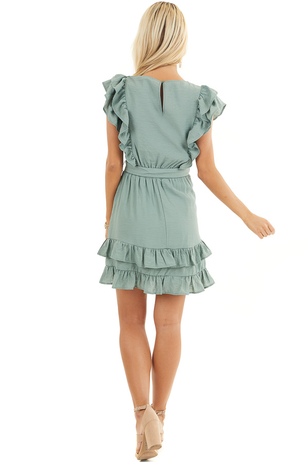 Sage Short Sleeve Short Dress with Ruffle and Tie Detail back full body