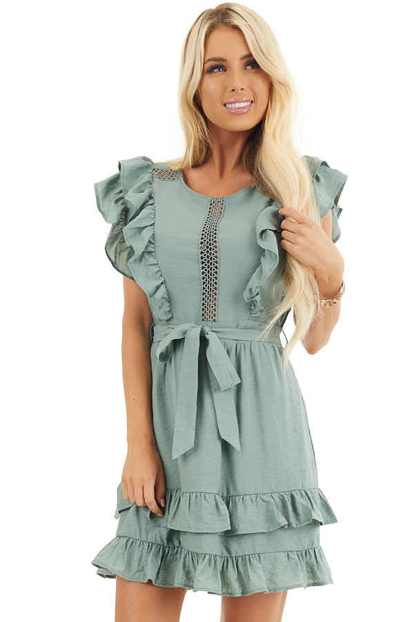 Sage Short Sleeve Short Dress with Ruffle and Tie Detail front close up