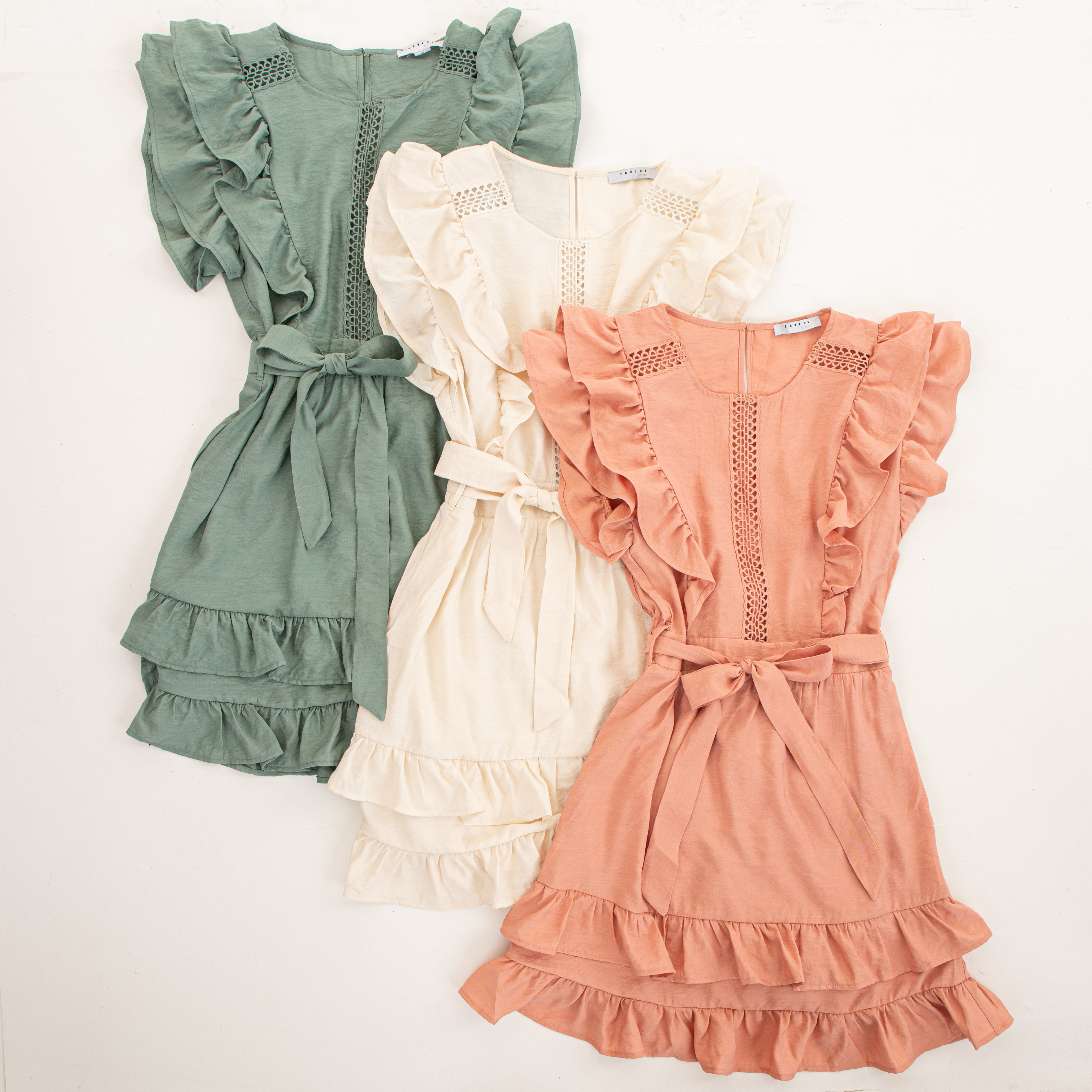 Sage Short Sleeve Short Dress with Ruffle and Tie Detail