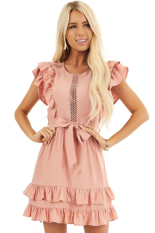 Apricot Short Sleeve Short Dress with Ruffle and Tie Detail front close up