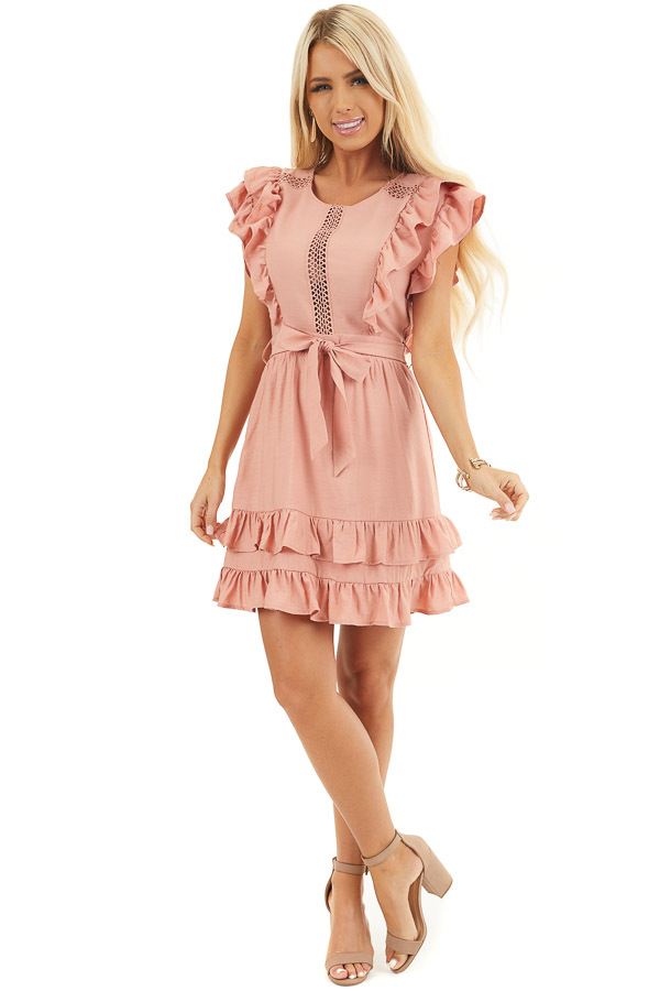 Apricot Short Sleeve Short Dress with Ruffle and Tie Detail front full body
