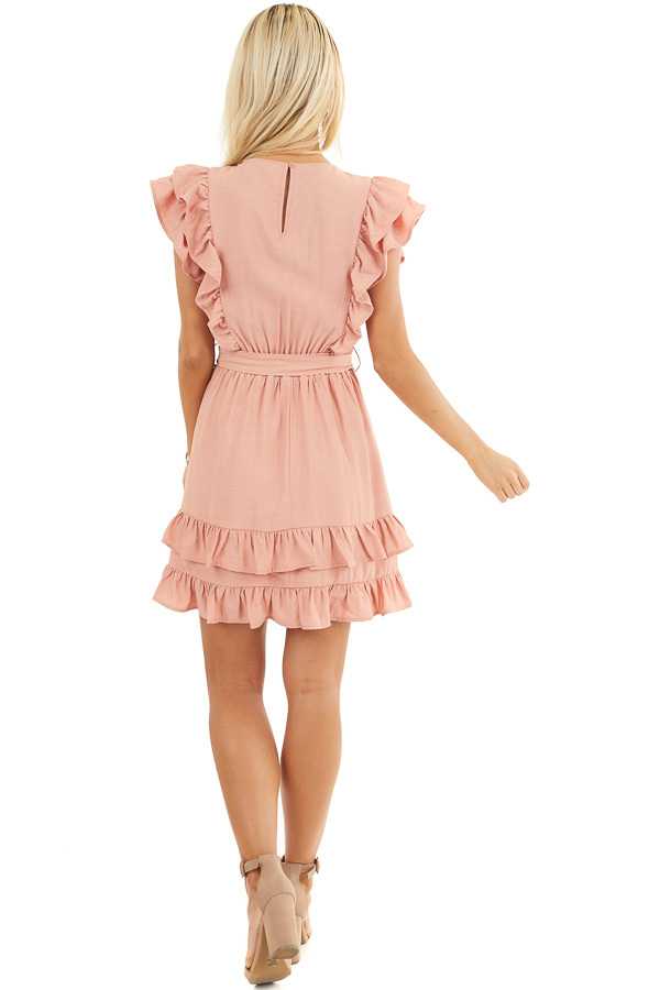 Apricot Short Sleeve Short Dress with Ruffle and Tie Detail back full body