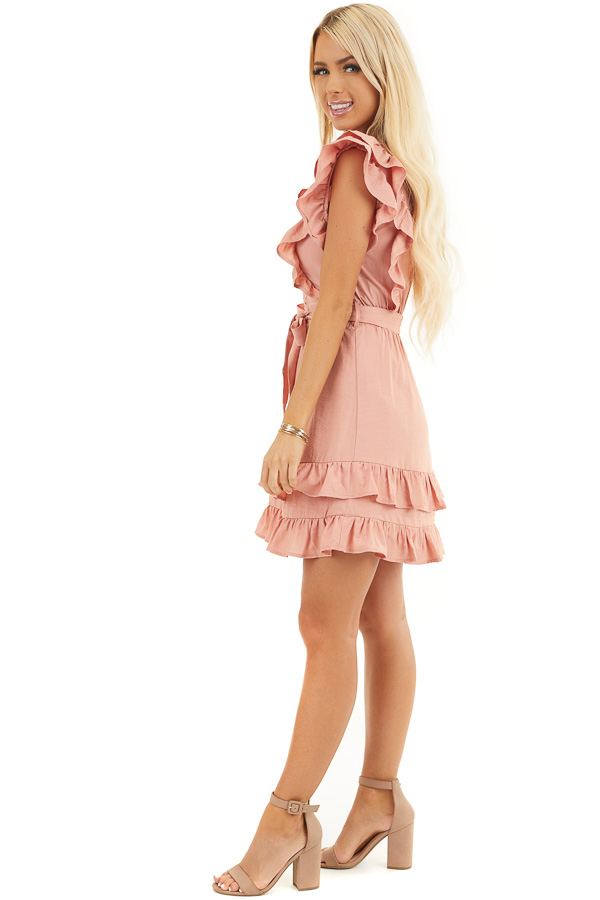 Apricot Short Sleeve Short Dress with Ruffle and Tie Detail side full body