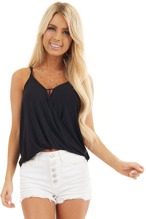 Black V Neck Surplice Tank Top with Small Triangle Cutout front close up