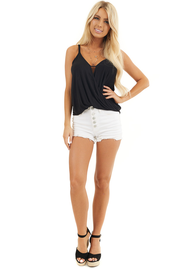 Black V Neck Surplice Tank Top with Small Triangle Cutout front full body