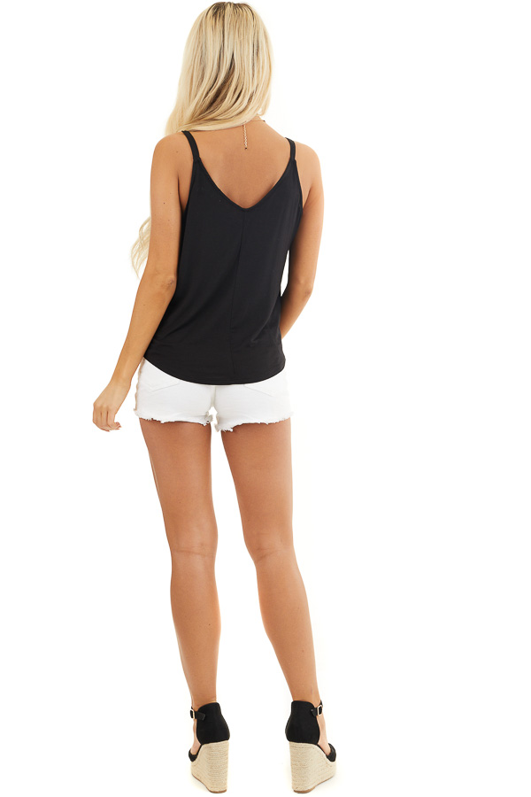 Black V Neck Surplice Tank Top with Small Triangle Cutout back full body