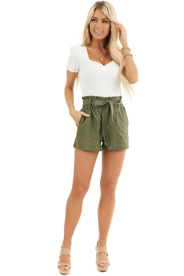Olive Green High Waisted Paper Bag Shorts with Tie Detail front full body