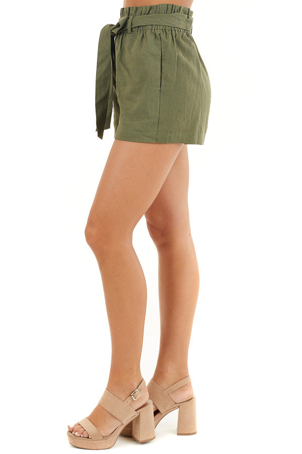 Olive Green High Waisted Paper Bag Shorts with Tie Detail side view