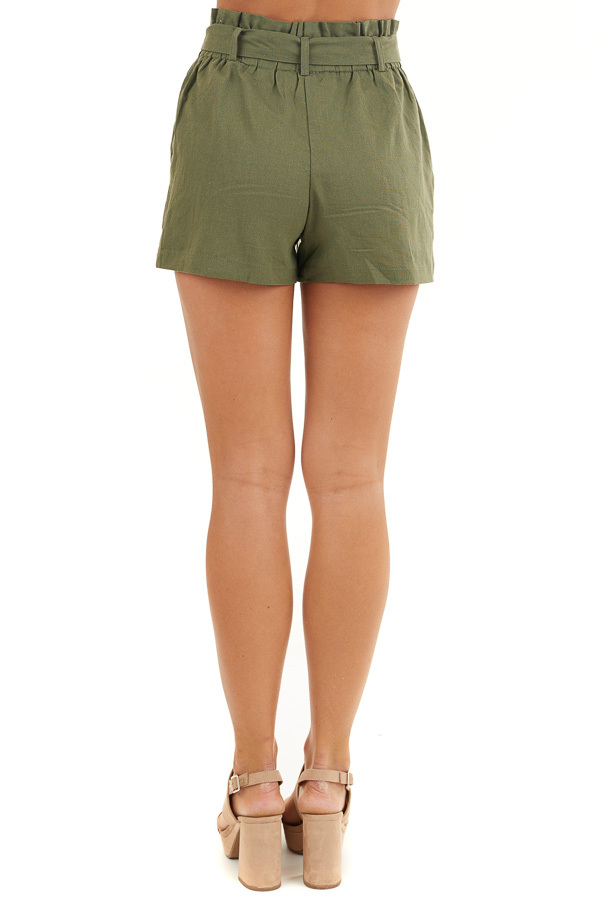 Olive Green High Waisted Paper Bag Shorts with Tie Detail back view