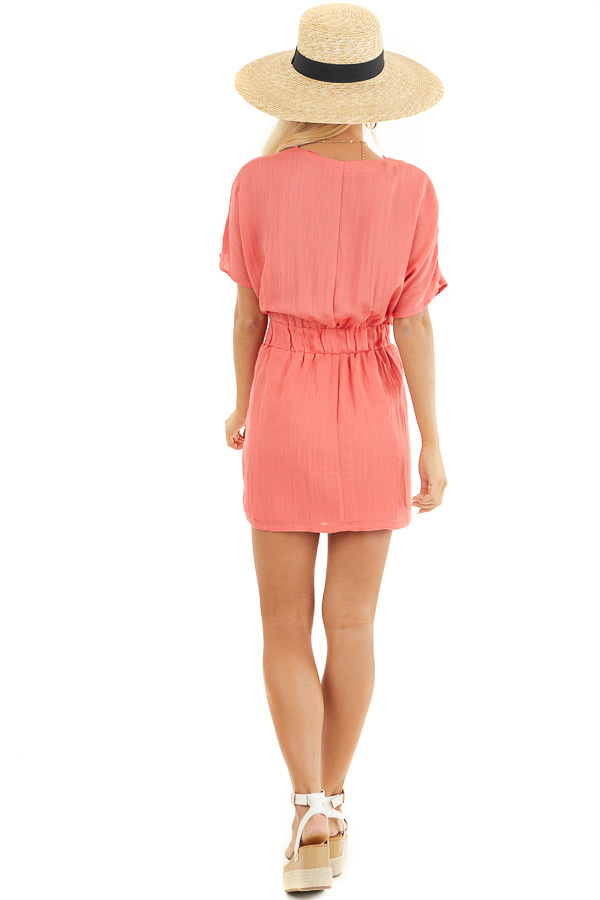 Coral Short Sleeve Mini Dress with Waist Tie and V Neckline back full body