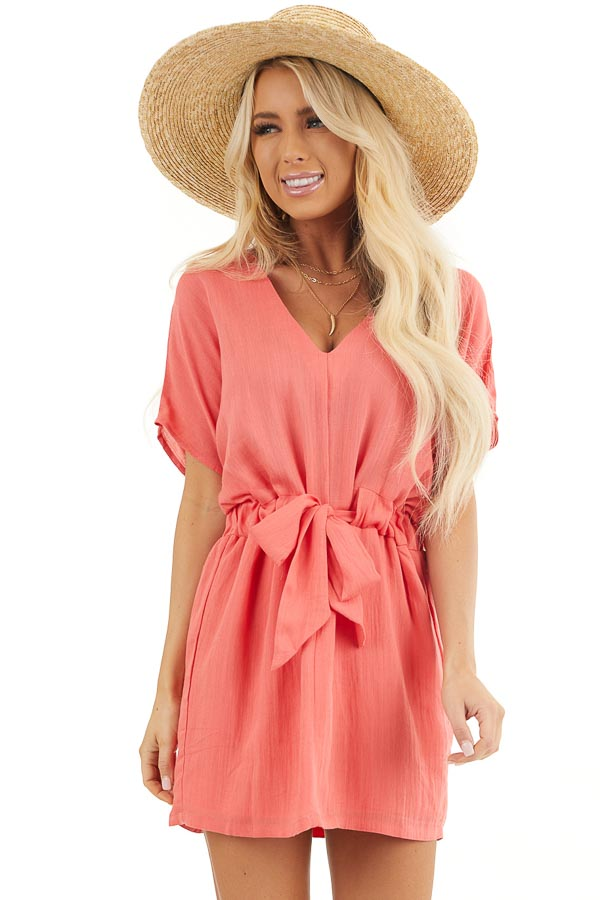 Coral Short Sleeve Mini Dress with Waist Tie and V Neckline front close up