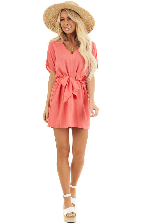 Coral Short Sleeve Mini Dress with Waist Tie and V Neckline front full body