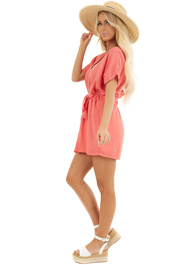 Coral Short Sleeve Mini Dress with Waist Tie and V Neckline side full body