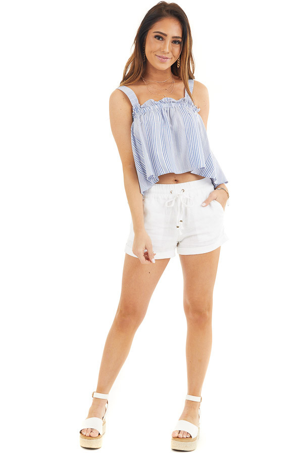 Dusty Blue and Ivory Striped Tank Top with Cropped Hemline front full body